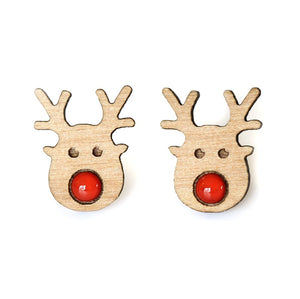 Acorn and Squirrel Christmas studs