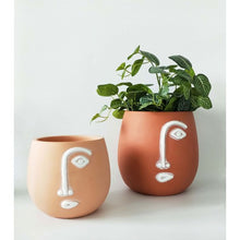 Load image into Gallery viewer, Abstract Face Planter Ochre Small 15cm