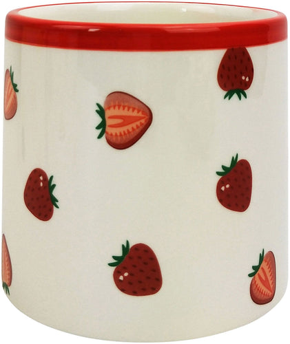 Fruit Strawberry Planter - Red & White Small