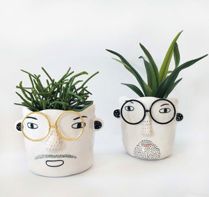 Man w/ Glasses Planter - White & Black