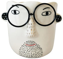 Load image into Gallery viewer, Man w/ Glasses Planter - White & Black