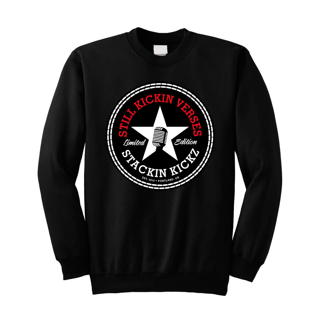 "Mens ""Still Kickin Verses"" Crewneck Sweatshirt Black"