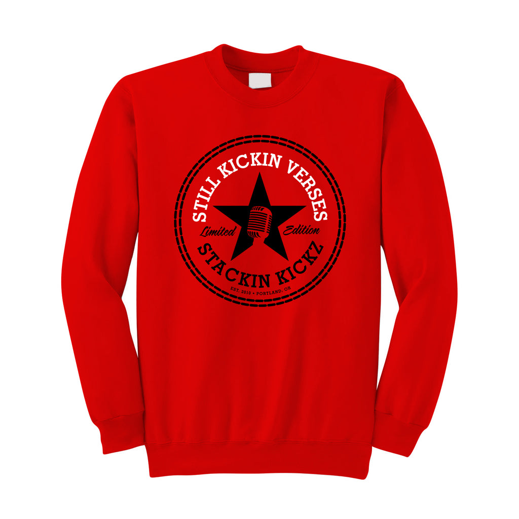 "Mens ""Still Kickin Verses"" Crewneck Sweatshirt Red"