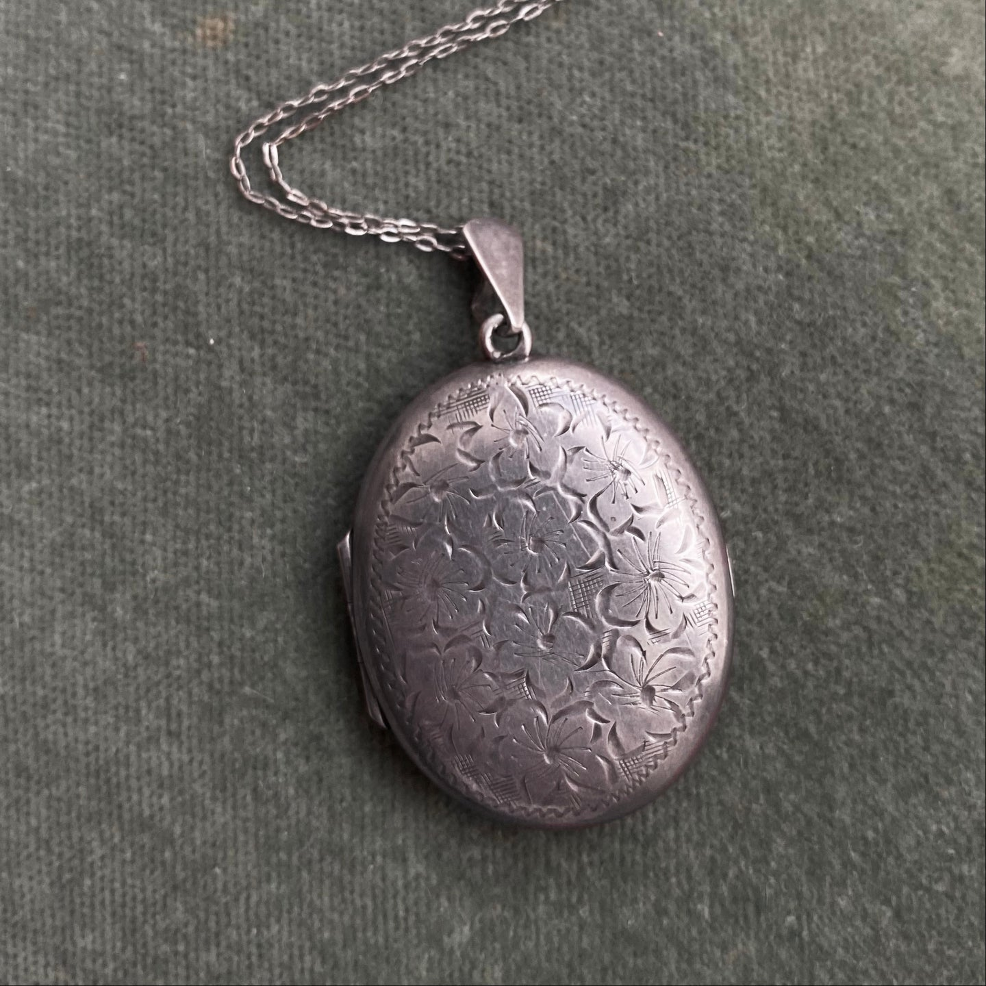 Handchased Sterling Locket c1950