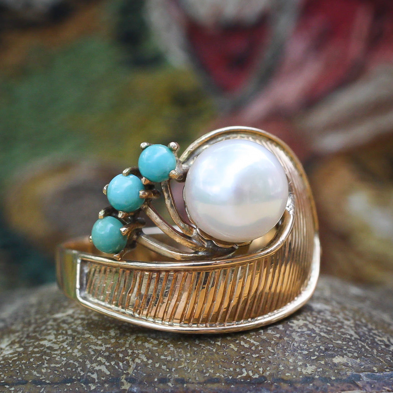 Retro Pearl and Turquoise Ring c1940
