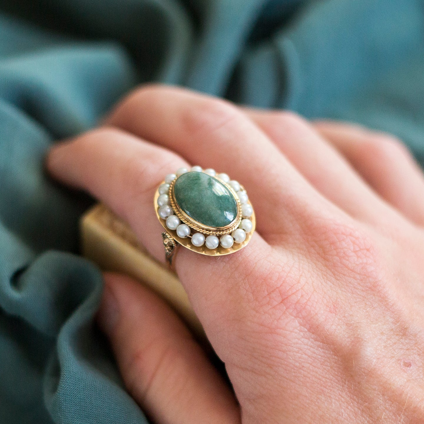 Jade & Pearl Cocktail Ring