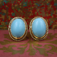 Rope-Bezeled Turquoise Earrings c1980