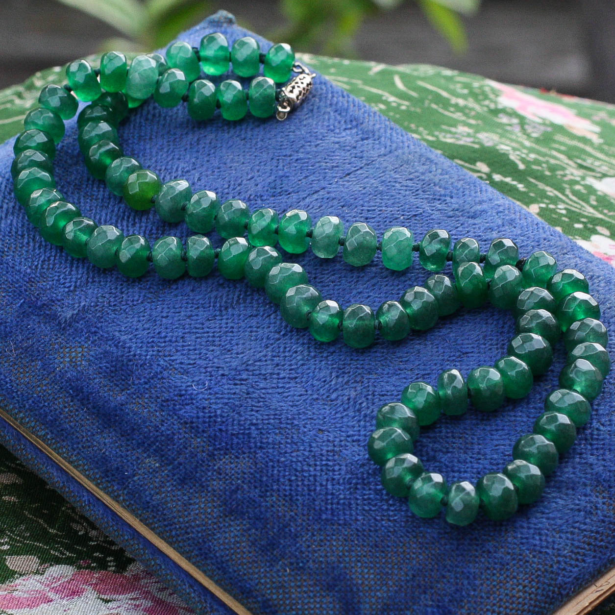 Dark Green Faceted Emerald Bead Necklace