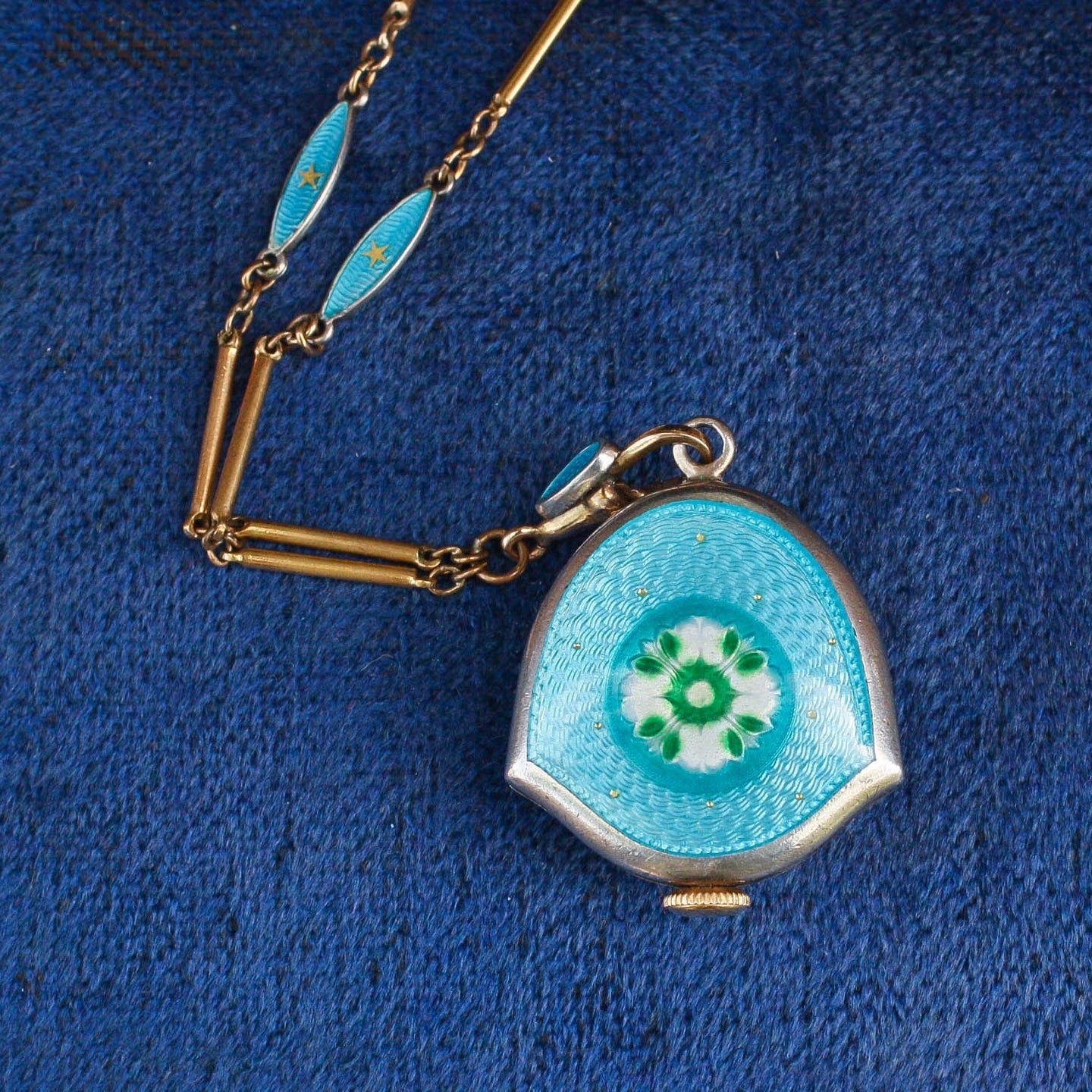 Guilloche Enamel Watch Pendant