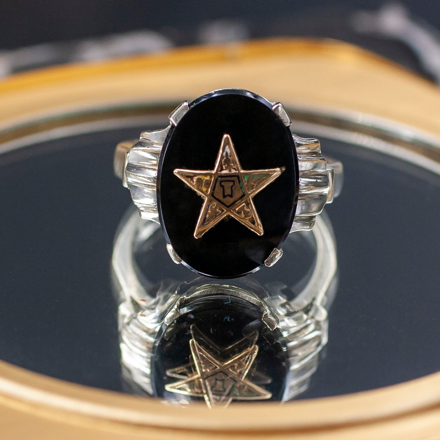 Mid-century Eastern Star Onyx Ring