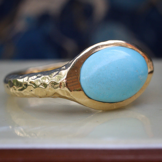 Hand-Hammered Gold Persian Turquoise Ring