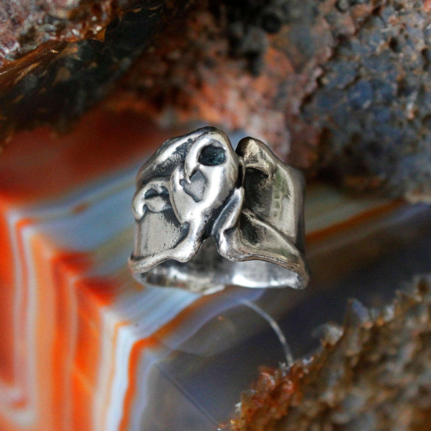 Brutalist Sterling Ring c1970