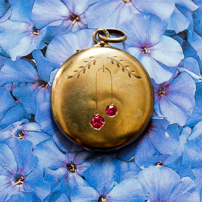 Ruby Cherry Locket c1900