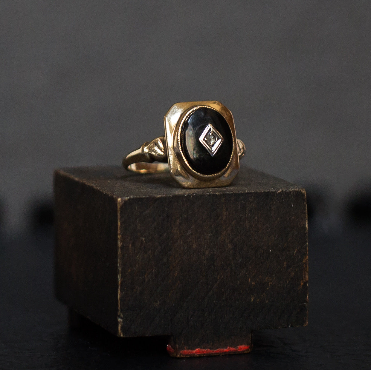 Victorian Onyx & Rosecut Diamond Ring