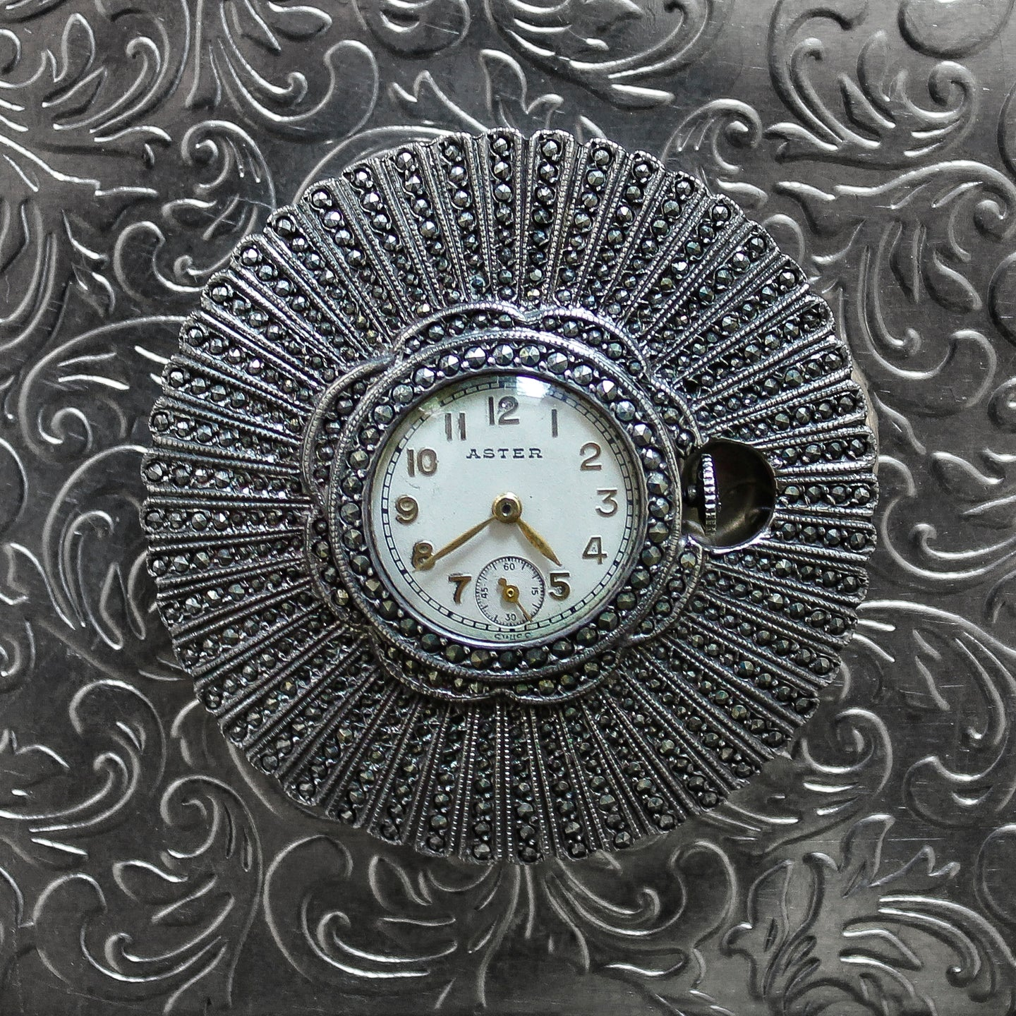 Marcasite Watch Pin by Aster c1930