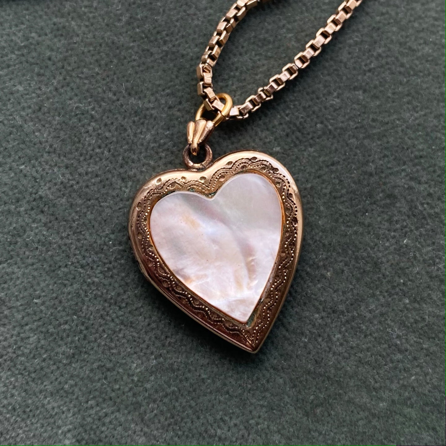 Mother of Pearl Heart Locket c1920