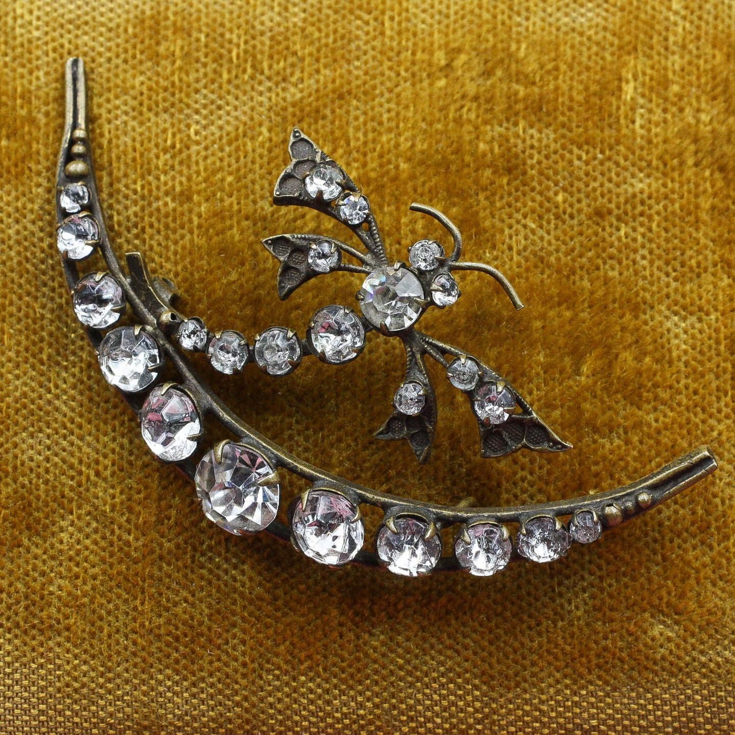 Victorian Dragonfly & Moon Brooch