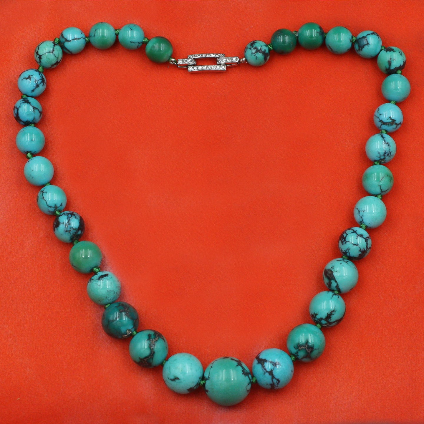 Spiderweb Turquoise Bead Necklace c1930