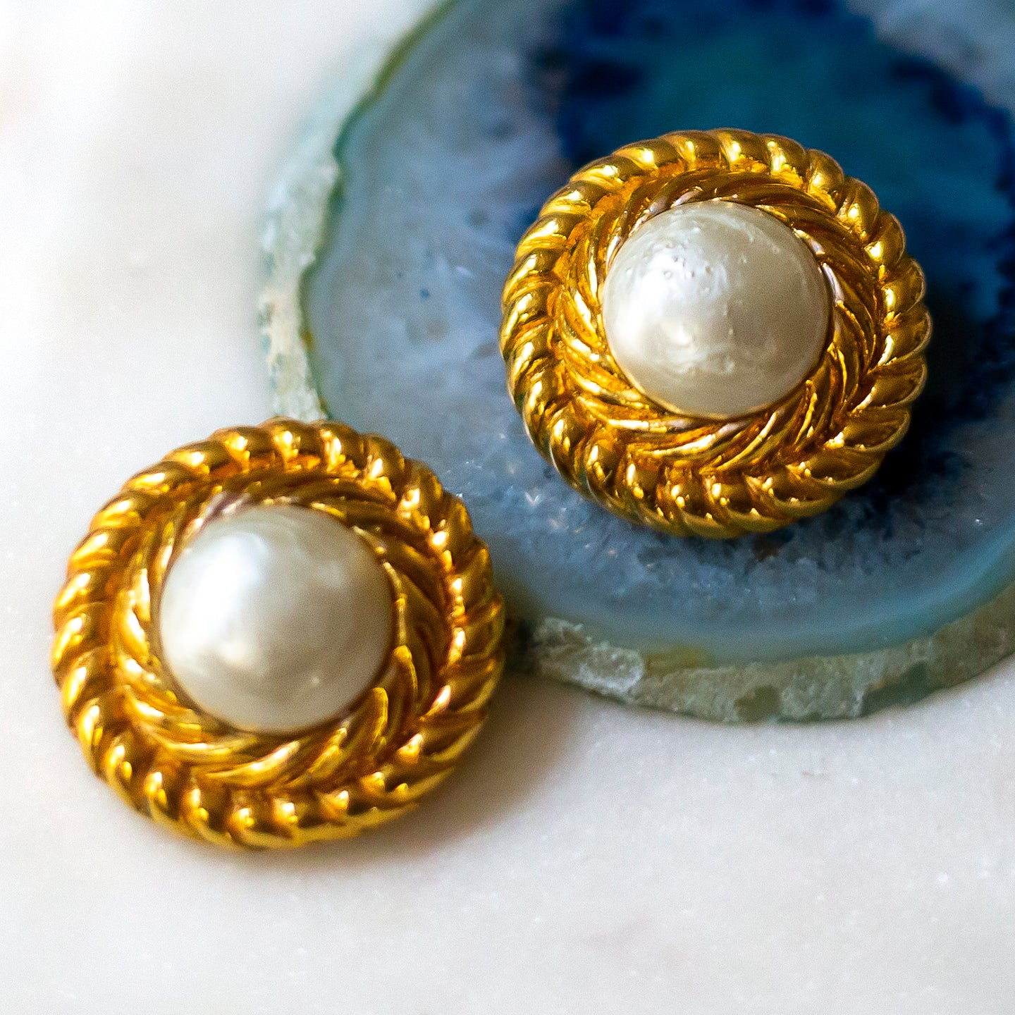 Chanel Faux Mabé Pearl Earrings c1980