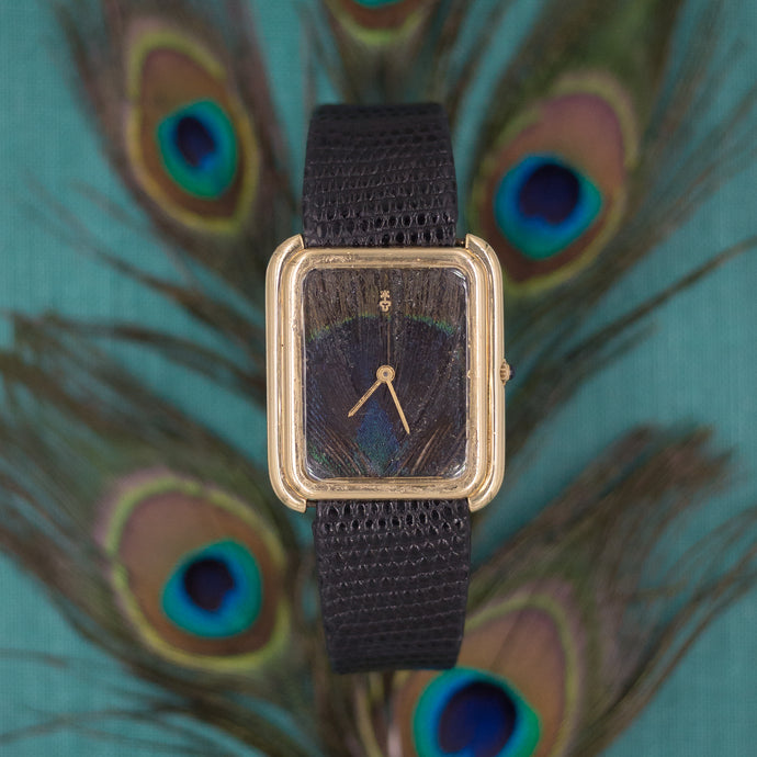 Corum Peacock Feather Dial Watch c1965