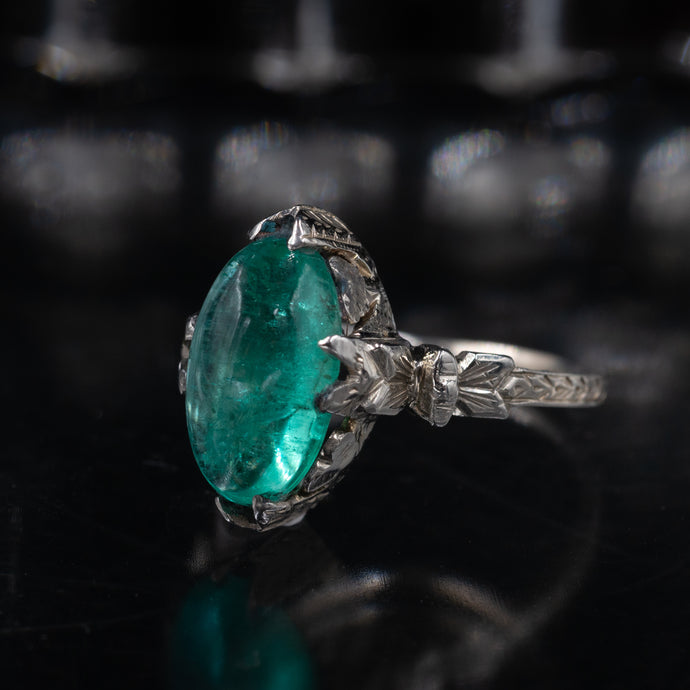 Art Deco 3.50 Carat Emerald Ring