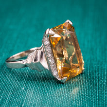 Retro Citrine Cocktail Ring c1950