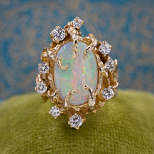 Brutalist Opal and Diamond Ring c1970