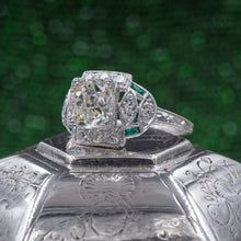 Old Mine Cut Diamond Ring with Emerald Accents c1920