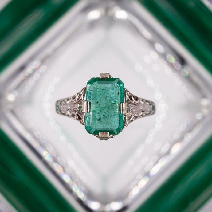 Untreated Emerald Ring c1920