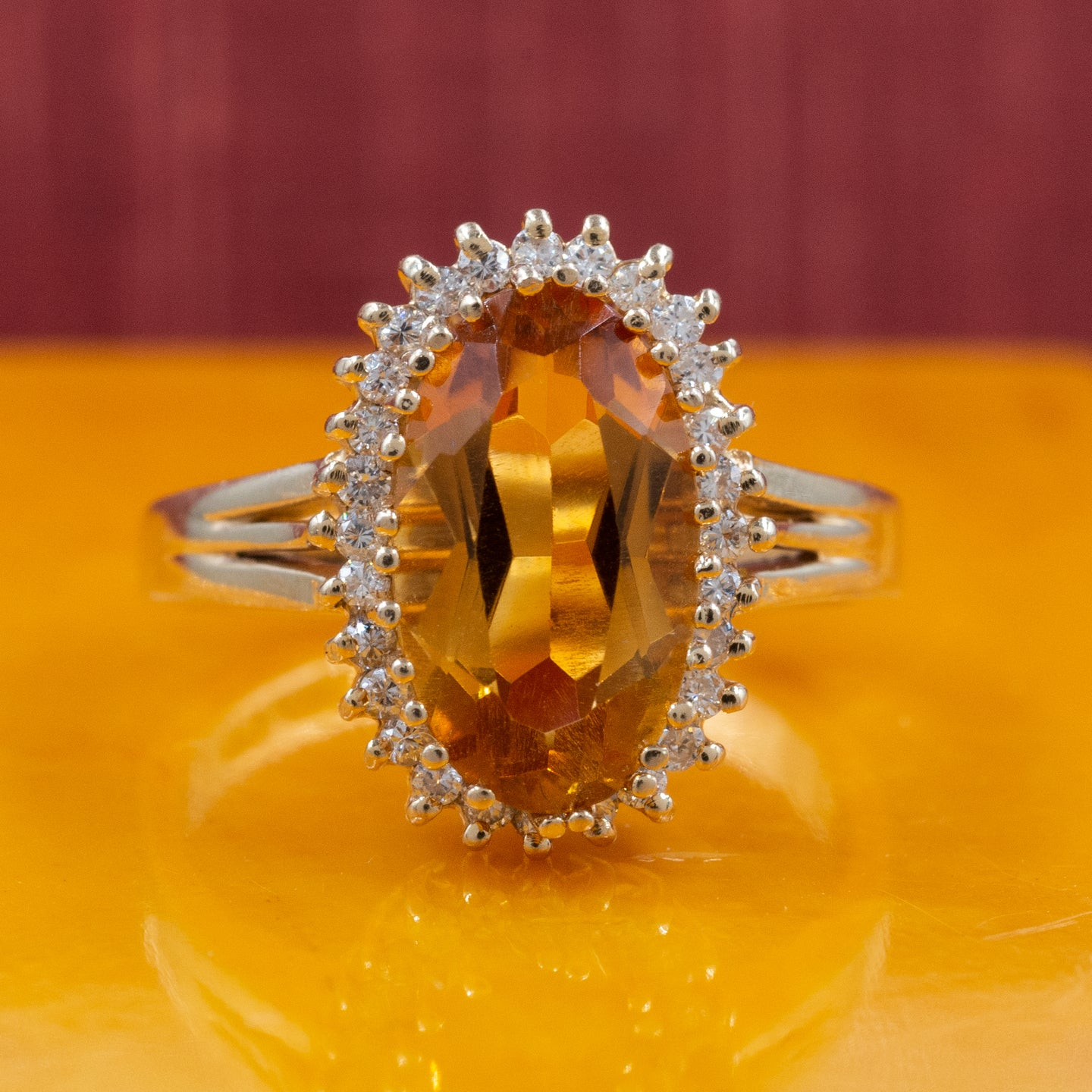 Precious Topaz and Diamond Halo Ring