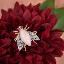 Coral and Diamond Bug Ring c1950