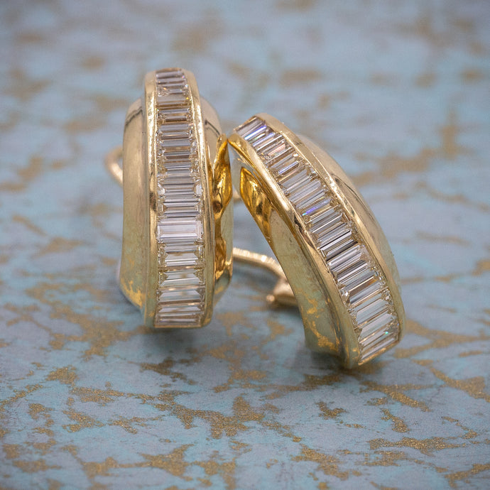 Baguette Diamond Half-hoops c1980