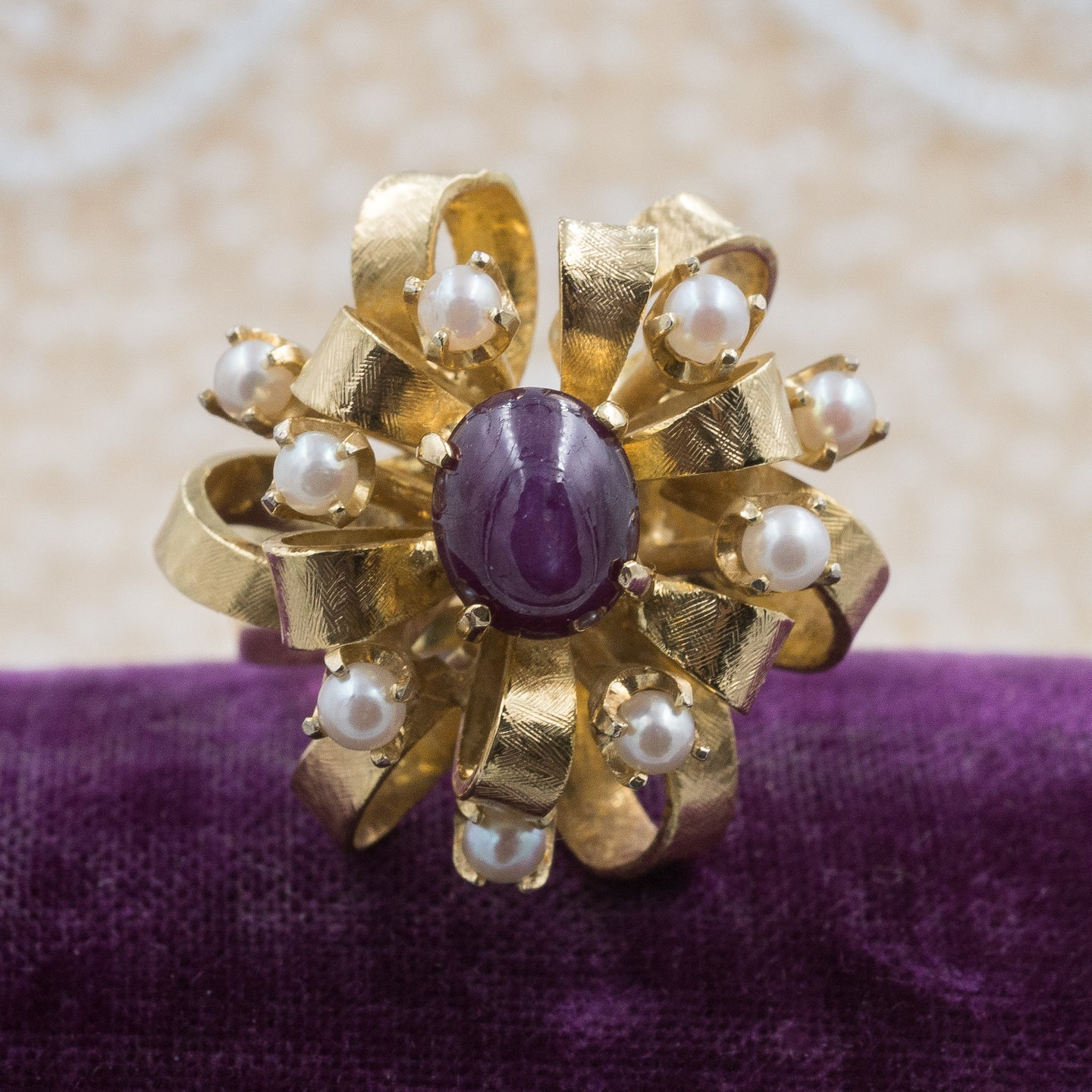 Plum Star Sapphire Cocktail Ring c1960