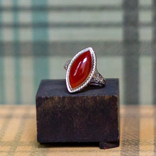 Carnelian Filigree Navette Ring c1930