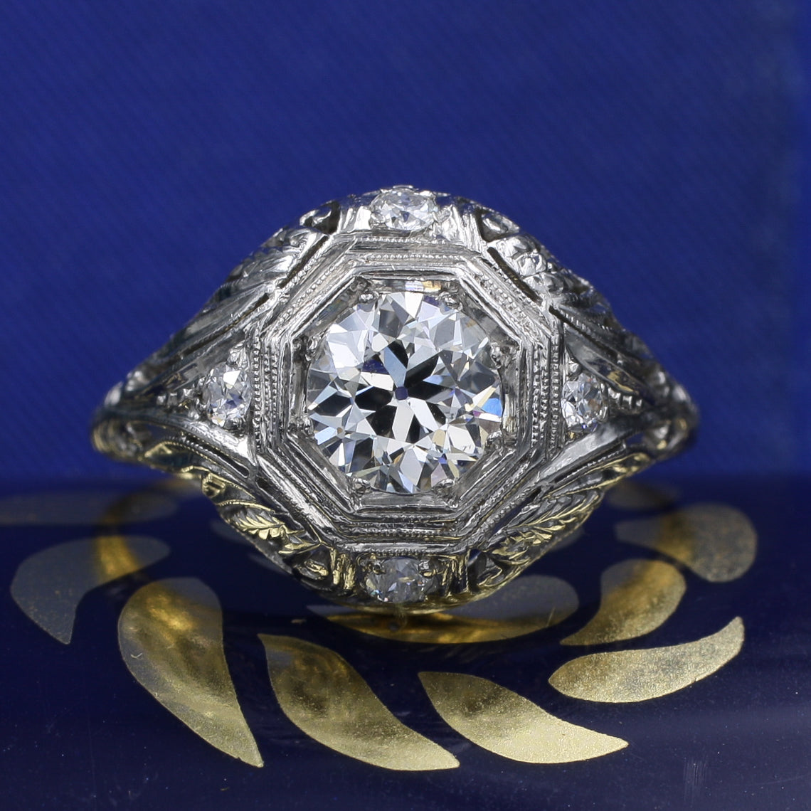 .80 Carat Antique Diamond Filigree Ring c1920