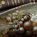 Circa 1910 hand wrought 14k gold AAA grade Akoya cultured pearl brooch