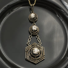Edwardian Triple Diamond Drop Pendant c1910