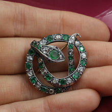 c1900 Emerald and Diamond Silver Snake Brooch