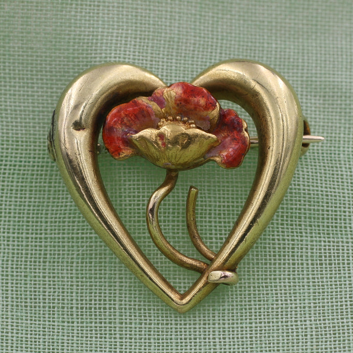 Art Nouveau Poppy Pin c1890