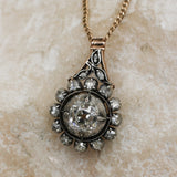 c1860 Old Mine and Rose Cut Diamond Pendant