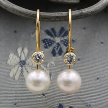 c1980 Gem Grade Pearl and Diamond Drop Earrings