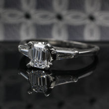 Colorless Emerald Cut Diamond Ring c1950