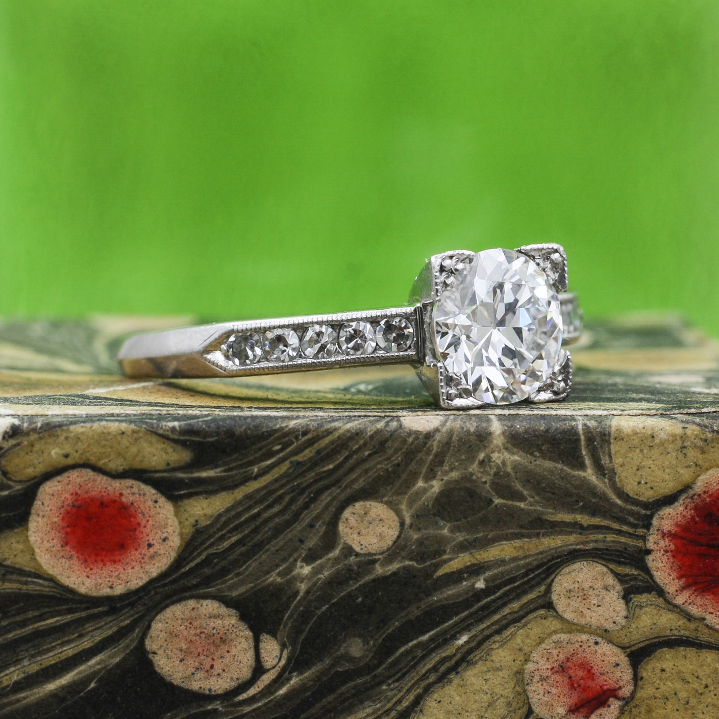 1931 .90 Carat Transitional Cut Diamond Ring