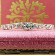 1920s 14k Filigree Bracelet with Emerald Paste Stones