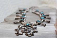 Navajo Sterling & Turquoise Squash Blossom Necklace