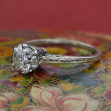 Edwardian .97 Carat Old Mine Diamond Carved Solitaire
