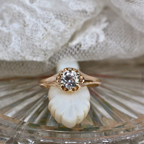 Perfect Antique Diamond Engagement Ring in Yellow Gold Belcher Style Mounting