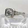 1920s Handcarved 18k .93ct Diamond Deco Solitaire