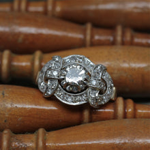 Circa 1920 Platinum & 18k Diamond Cocktail Ring