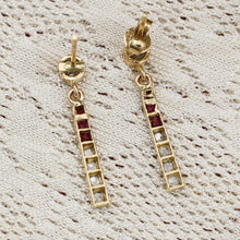 Rose-cut Diamond and Ruby Petite Drop Earrings